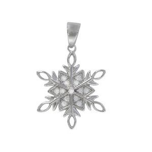 Necklace Snowflake Pendant with Cubic Zirconia CZ
